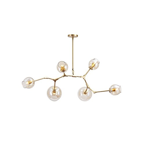 Ball Semi Flush - Modern Metal Branch Chandelier Lighting Brushed Brass Modern Adjustable Pendant Lights Vintage Creative Magic Beans Glass Ball Molecular Semi Flush Mount Ceiling Light,Golden,6light