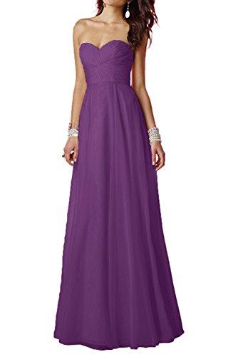 Herzausschnitt Lang Damen Violett Brautjungfernkleider Linie Charmant A Einfach Chiffon Traegerlos Promkleider Partykleider aZtqw4