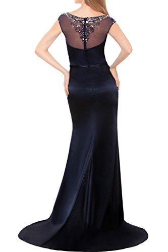 Promgirl House Damen 2016 Chic Navyblau Rundkragen Mermaid Schlitz Abendkleider Ballkleider Lang