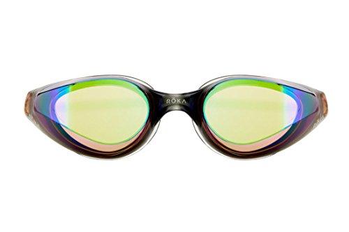 Mirror Amber (ROKA R1 Anti-Fog Swim Goggles with RAPIDSIGHT Razor Sharp Optics - Amber Mirror)