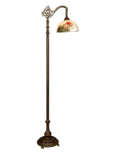 Dale Tiffany 10057 757 Rose Dome Downbridge Floor Lamp, Antique Bronze and Glass Shade