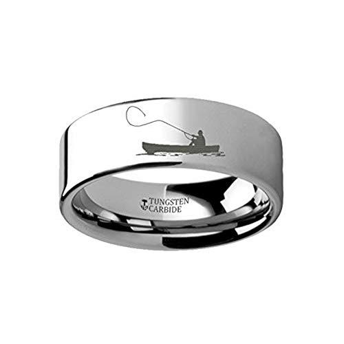 Hunting Landscape Scene Fishing Boat Fishermen Fish Ring Engraved Flat Tungsten Ring - 4mm - 12mm