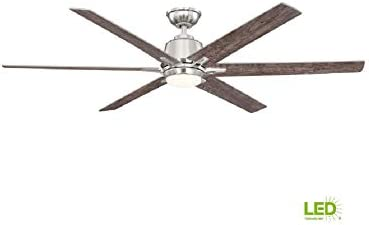 Kensgrove 64 In Led Brushed Nickel Ceiling Fan With Remote Control