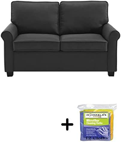 57 Loveseat Sleeper With Memory Foam Mattress Grey Pocketed Coil Seating 57 Loveseat Sleeper Black