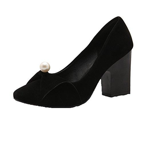 Musta Neliön Toe Vetää Solid Naisten kengät Suljettu Pumppuja Himmeä Korkokengät Amoonyfashion fwaFgT