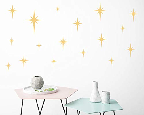 Retro Star Vinyl Wall Decals, Starbursts Wall Stickers for Nursery, Kids Room Wall Decals, Unique Wall Decals for Baby Girls Boys Bedroom, Nursery Decor(Y10) (Matte Gold)