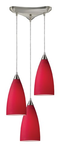 - Elk 2583/3 Vesta 3-Light Pendant In Cardinal Red In Satin Nickel