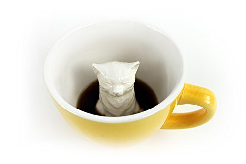 Creature Cups Cat Ceramic Cup (11 Ounce, Yellow) | Hidden Animal Inside | Holiday and Birthday Gift for Coffee & Tea Lovers by Creature Cups