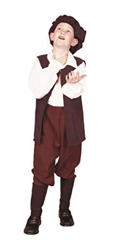 RG Costumes Renaissance Boy Costume, Brown/White, Large (William Shakespeare Costume)