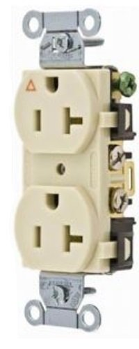 Hubbell Wiring Systems IG5352I SpikeShield Heavy Duty Specification Grade Straight Blade Isolated Ground Receptacle, 125V, 20A, 1 HP, 2-Pole, 3-Wire, Ivory