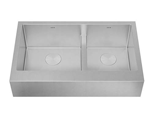 ZUHNE Trento 36 Inch Low Divide 60/40 Double Farm House 16G Stainless Steel Kitchen Sink W. Scratch Protector Grid, Caddy and Strainer - Short Straight Apron