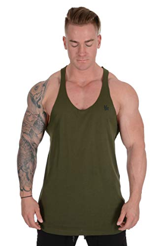 facfac8815fd1 YoungLA Stringer Tank Tops for Men with Raw Edges Cut with Scissors for  Trends 318 Olive Medium