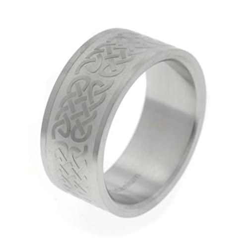 10mm Wide Embossed Celtic Knot Pattern Titanium Wedding Band Ring(Sizes 6,7,8,9,10,11,12)