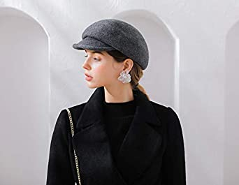 Women Baker Boy Cap 100/% Wool Cabie Newsboy Hat with Butterflt Tie Vintage Felt Bowler Hat Winter Fedora Cloche Derby