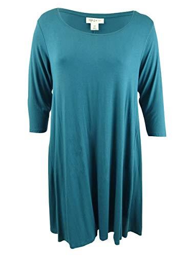 (Style & Co. Womens Plus Scoop Neck Knee-Length Tunic Dress Blue)