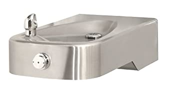 Haws 1107L Satin Finish 14 Gauge 304 Stainless Steel Low Profile Barrier-Free Wall Mounted Drinking Fountain (Mounting Frame Not Included)