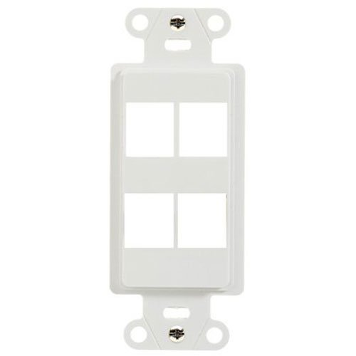 Legrand/ On-Q WP3416WH 4 Port Decorator Outlet Strap, White Keystone Style Port Wall Plate