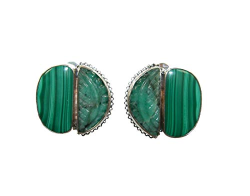 AMY KAHN RUSSELL Hand Carved Emerald, Malachite, Sterling Silver Stud CLIP OR POST Earrings
