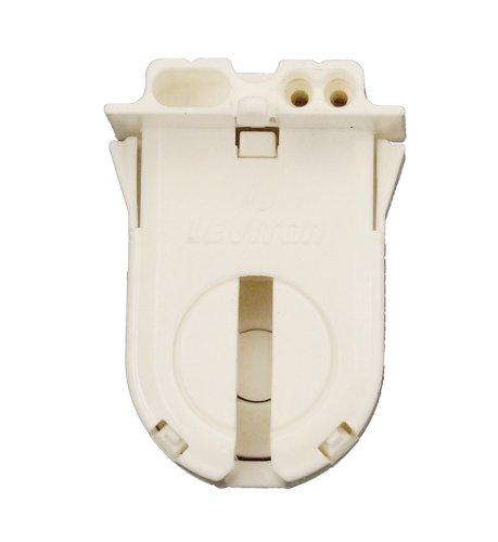 Leviton 23653-WP Medium Base, T8-T12 Bi-Pin, Standard Fluorescent Lampholder, Low Profile, Snap-In or Slide-ON, Lamp-Lock, Internal Shunt, White