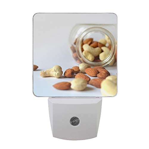 LED Night Light with Smart Dusk to Dawn Sensor Badam Cashew Nuts Plug in Great for Dark Room ()