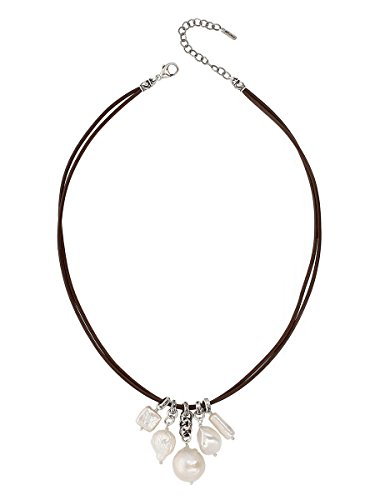 Chan Luu White Cultured Freshwater Pearls and Sterling Silver Drops Brown Double Cord - Necklace Double Drop Pearl