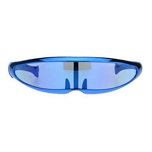 Mirror Lens Monolens Cyclops Robotic Futuristic Sunglasses Metallic ()