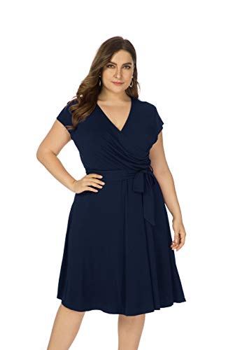Ivicoer Women Summer Plus Size V Neck Cap Sleeve Cross Wrap Floral Printed Midi Dress with Belt(L-4XL) (4XL, Navy Blue)