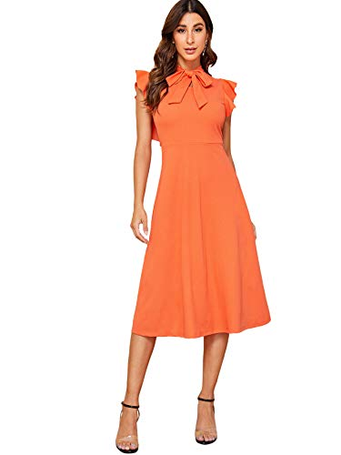 Verdusa Women's Elegant Ruffle Trim Tie Neck Flutter Sleeve A-Line Dress Orange S