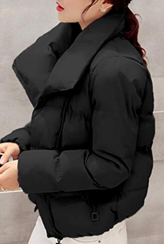 Short Down Lightweight Solid Black Parka Color Women Warm Coat Bread EKU Casual TAYwZ1