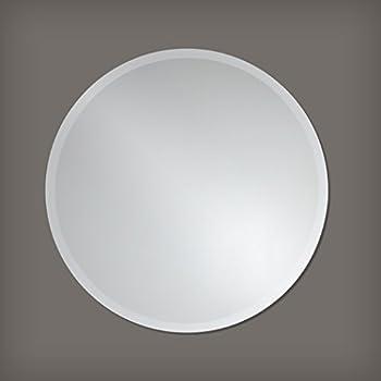 Round Frameless Wall Mirror | Bathroom, Vanity, Bedroom Mirror | 28-inch Diameter Circle | Beveled Edge