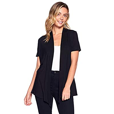 12 AMI Basic Solid Short Sleeve Open Front Cardigan (S-3X) - Made in USA at Women's Clothing store