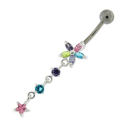 Multi Colored Flower with Star 925 Sterling Silver Belly Button Ring