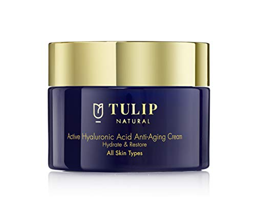 Hyaluronic Anti-Aging Cream to Hydrate & Restore - Hyaluronic Acid Face Lotion with Vitamins A, C, E Prevents Wrinkles & Plumps Skin - Fast Acting Anti-Aging Moisturizer by Tulip Natural, 1.7oz