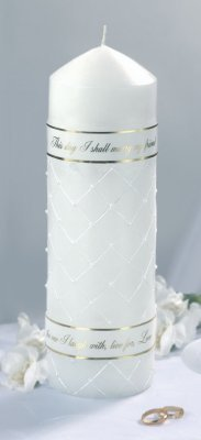 Wedding Pillar Candle w/Verse, White (Verse Pillar)
