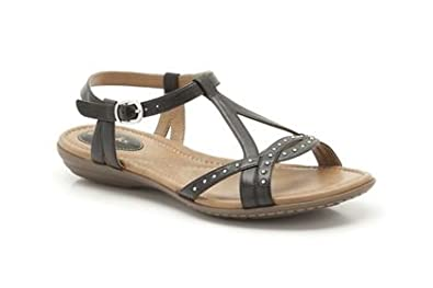 51aa56543 Image Unavailable. Image not available for. Colour  Clarks Womens Roya  Hannah Black Leather Casual Sandals Shoes