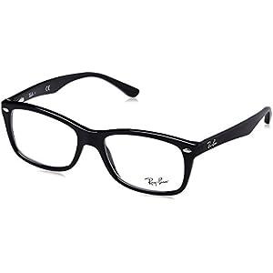 Ray-Ban Women's RX5228 SQuare Eyeglasses,Shiny Black,53 mm
