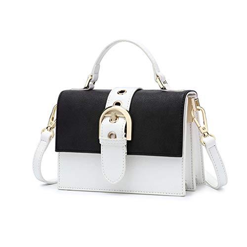 Lxf20 Sac pour femme PU Hit Color Petit Sac Carré Mode Casual épaule sauvage Messenger Bag Sac À Main Petit Sac Blanc