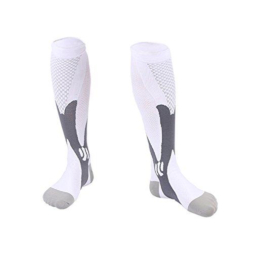 Compression Socks For Men & Women-20-30 mmhg Compression Knee Stockings Support Stretch Magic Football Running Socks (L/XL, White)