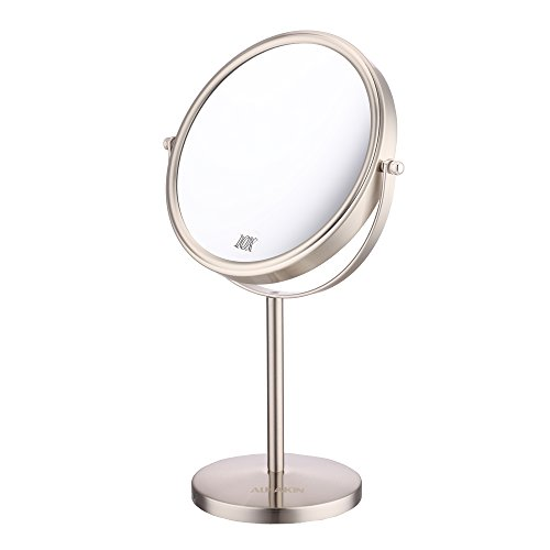 - 8-Inch 10x Magnification Makeup Mirror Tabletop Two-Sided Swivel Vanity Mirror Nickel finished ALHAKIN