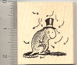 Groundhog w/ Shadow Rubber Stamp