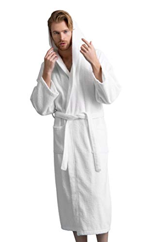 (Men's Hooded Robe, Turkish Cotton Terry Hooded Spa Bathrobe (White, Large/One Size))