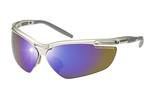 Eagle Eyes PRO XL Polarized Sunglasses - Blade Style Sports Sunglasses for Active Lifestyles, Silver with Indigo Mirrored - 80s Sunglasses Blade