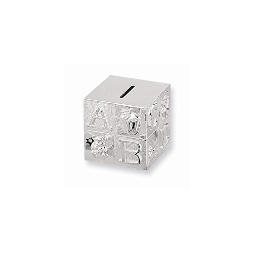 - FB Jewels Solid Silver-Plated Baby Block Bank