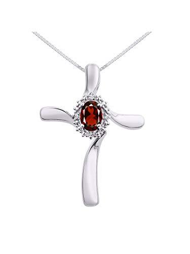 Diamond & Garnet Cross Pendant Necklace Set In Sterling Silver - Diamond Cross Garnet Necklace