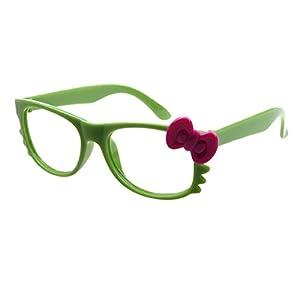 D.King Kids Cute Lovely Eyeglasses Full Rim Frame Children Glasses Frames (No Lens) Green