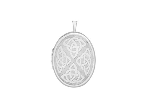 Or blanc 9carats Motif celtique gravé Médaillon ovale