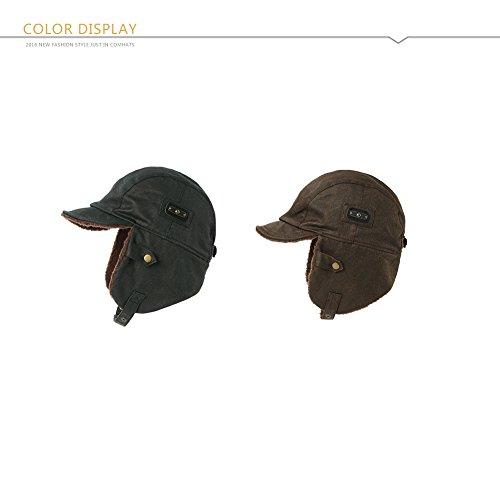 SIGGI Pilot Cap for Men Winter Aviator Hat Adult Brown Leather - Import It  All 3adbdb45e3f