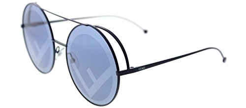 Fendi FF 0285 PJP Blue Metal Round Sunglasses Blue Mirror - Fendi Round Sunglasses