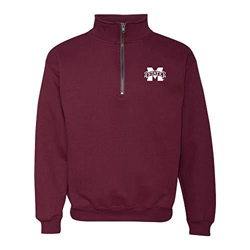 UGP Campus Apparel AQ07 - Mississippi State Bulldogs Primary Logo LC (1/4) Quarter Zip Sweatshirt - Large - Maroon