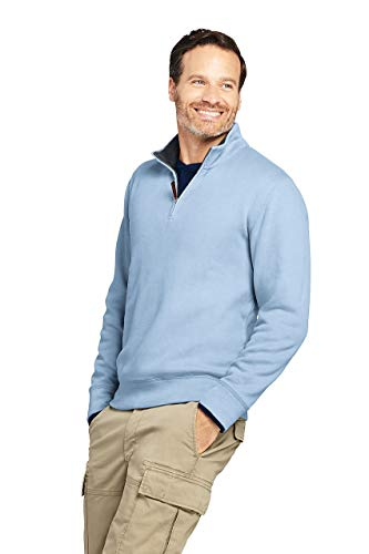 Lands' End Men's Bedford Rib Quarter Zip Sweater, S, Gossamer Blue